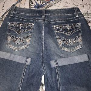 Cato cropped jean women sz 10 classic BLING pocket